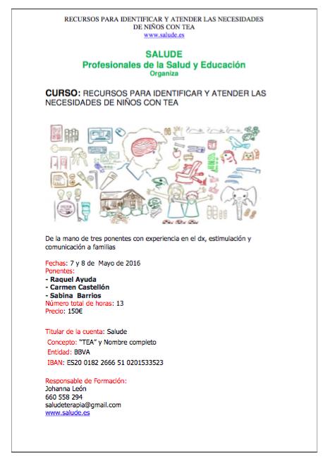 Recursos para identificar y atender las necesidades de niños con TEA @ Edificio Securitas.   Madrid   Comunidad de Madrid   España