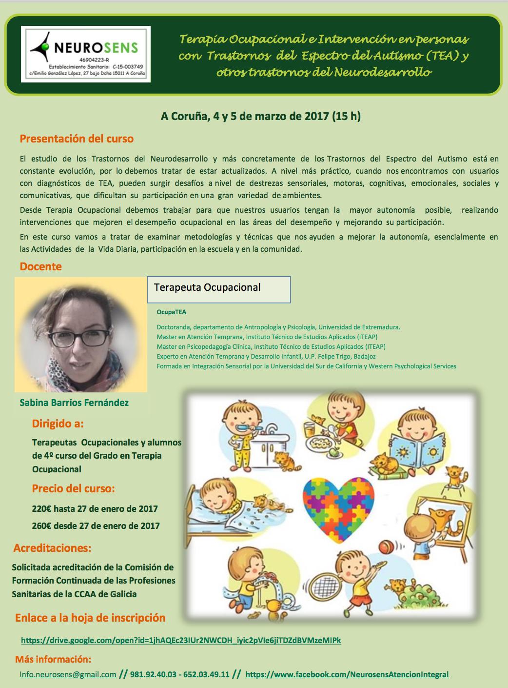Terapia Ocupacional en personas con TEA y otros trastornos del Neurodesarrollo @ Neurosens