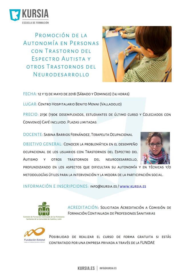 Curso Promoción Autonomía en personas TEA y trastornos del neurodesarrollo @ Centro Hospitalario Benito Menni | Valladolid | Castilla y León | España